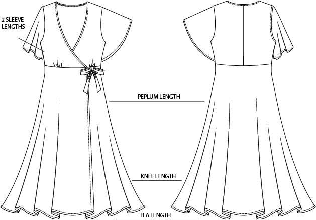 pippa wrap dress sewing pattern  pdf