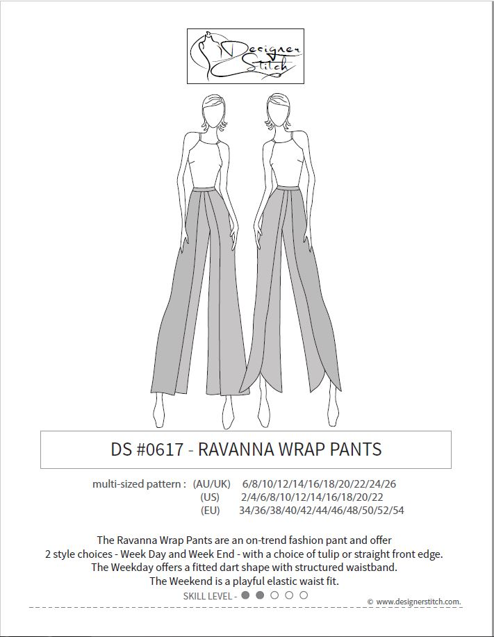 Ravanna Wrap Pants Sewing Pattern PDF Designer Stitch Mesmerizing Pants Sewing Pattern