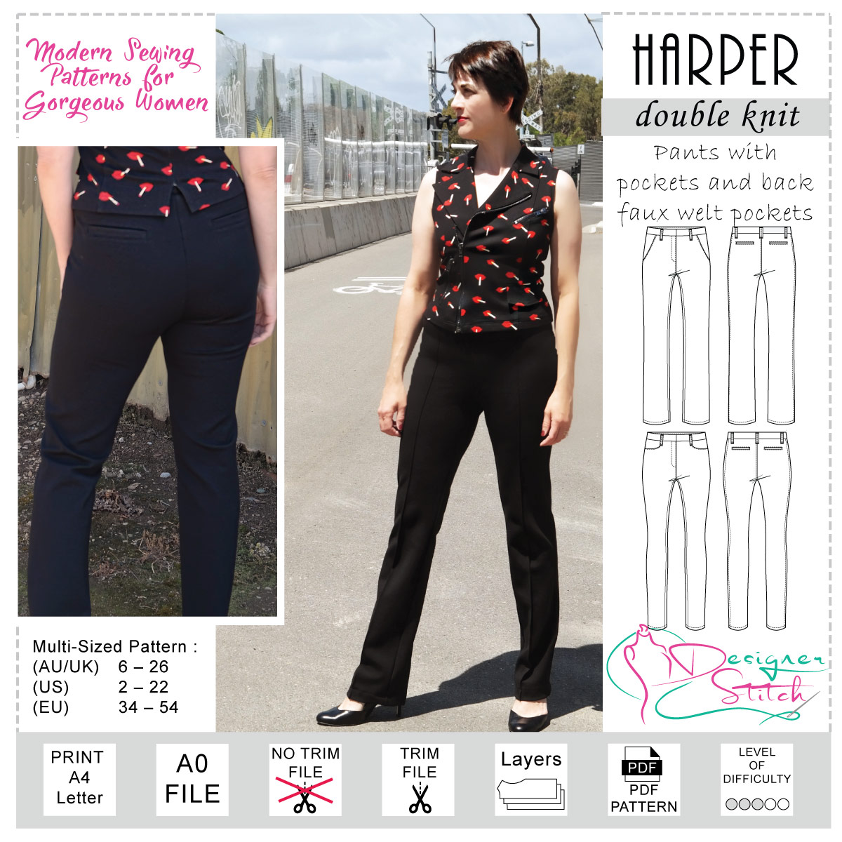 PDF Sewing Pattern high waist Pants Elle with Ebook sewing instructions