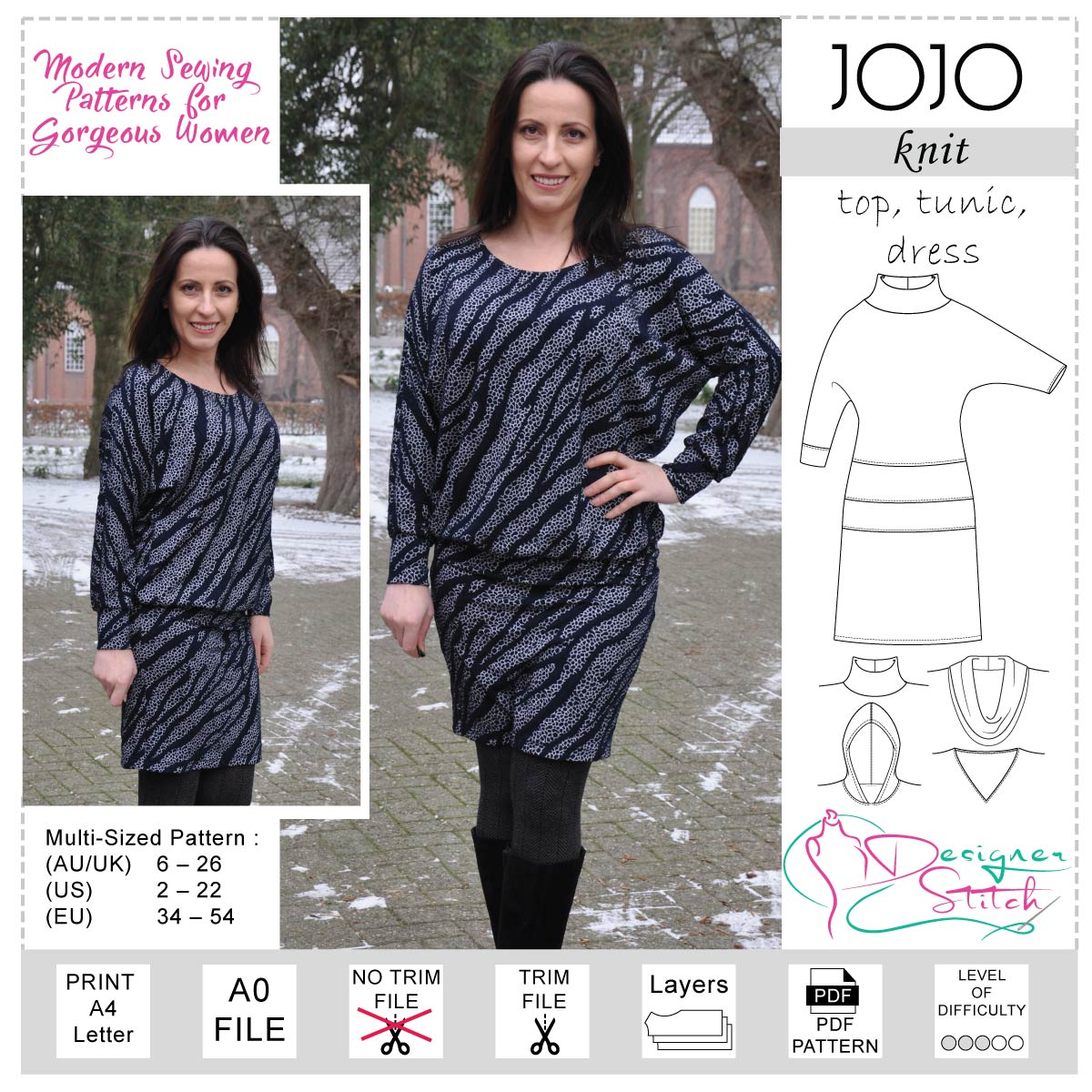 68da5feafb76 JoJo Top Tunic Dress Sewing Pattern (PDF) - Designer Stitch
