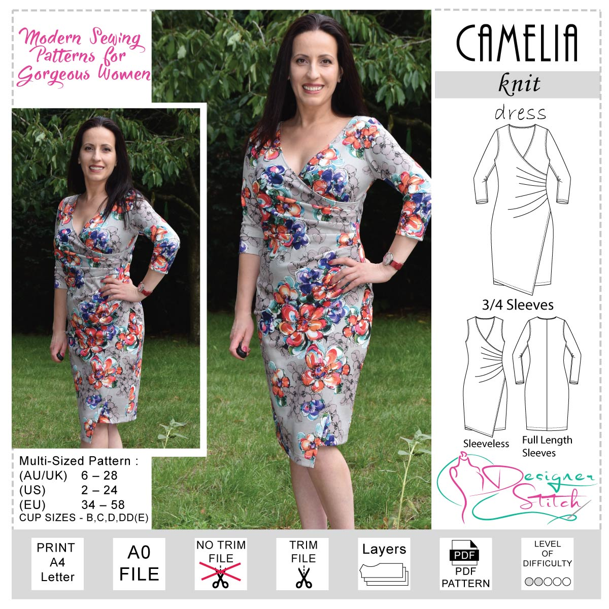 Camelia Draped Jersey Dress Sewing Pattern Pdf Designer Stitch