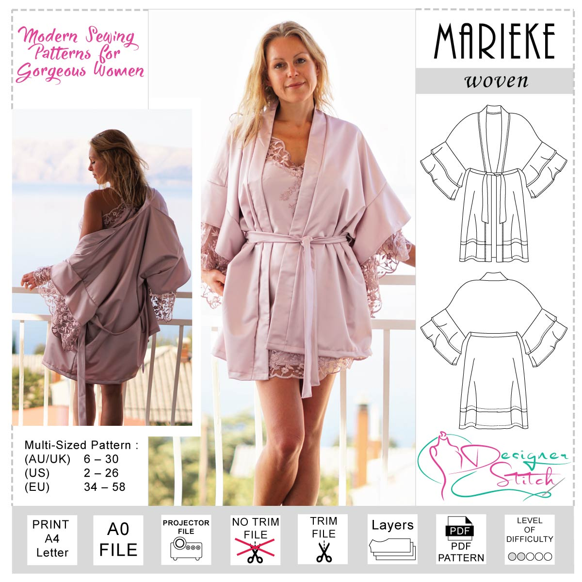 Marieke Robe Sewing Pattern Pdf Designer Stitch